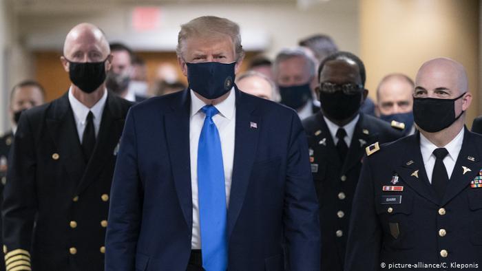Donald Trump junto al alto mando militar con Tapabocas