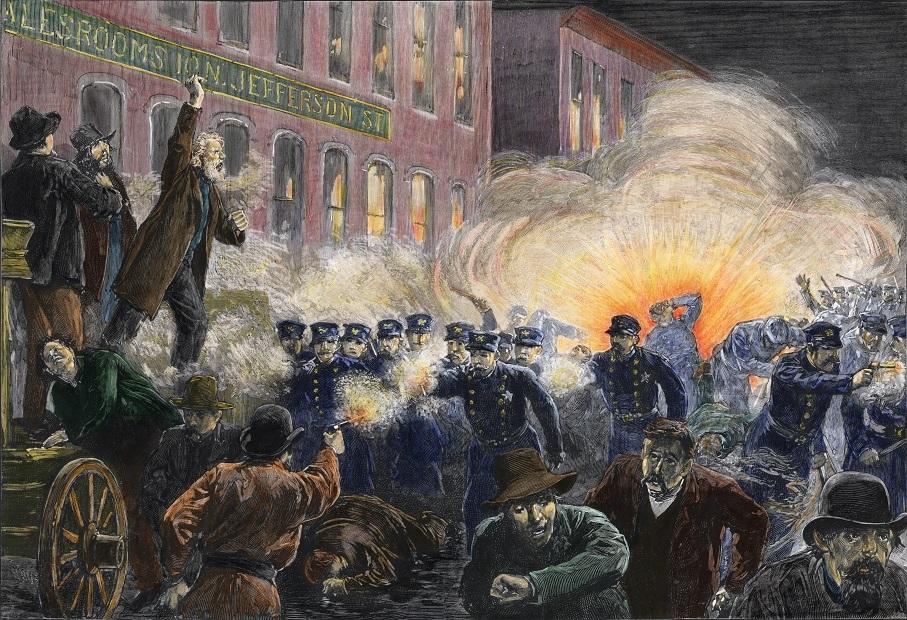Dibujo sobre la explosión en Haymarket